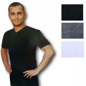 REGENT 102. Maglietta intima T-shirt, Uomo manica corta, Scollo V, Cotone caldo.