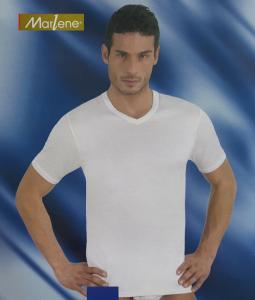 MARLENE 30293. Maglietta intima T-shirt Uomo manica corta, Scollo V Cotone caldo