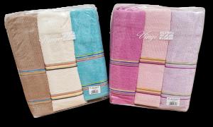 VINGI MULTICOLOR. Set asciugamani 3 Viso + 3 ospiti in Spugna di Cotone 100%.