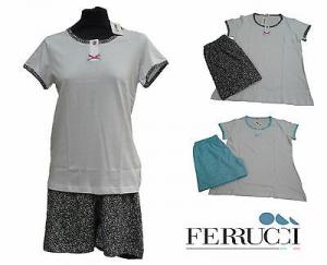 GABRIELLA FERRUCCI - BEVERLY. Pigiama donna corto, Serafino. 100% Cotone. ITALY.