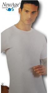 NEW AGE 690S. 3x  Maglietta intima, Uomo, manica corta, girocollo, Cotone caldo.