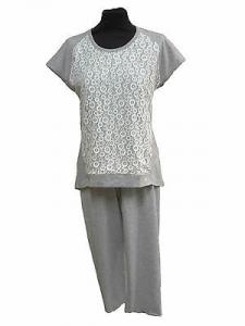 GABRIELLA FERRUCCI, BRIGIDA. Pigiama donna, Mezza manica + Pinocchietto. Cotone.