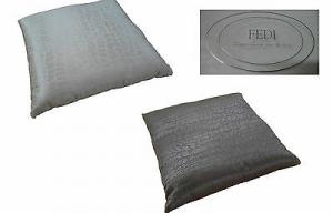 FEDI - MERINGA. Cuscino arredo decorativo - 45x45. Cotone satinato. Nero e Seta.