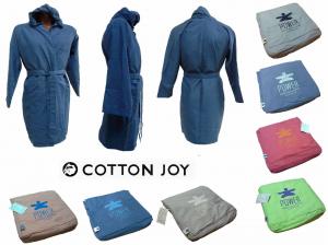 COTTON JOY - POWER. Accappatoio cappuccio. Uomo, donna con borsetta. Microfibra.