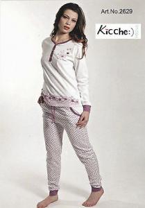KICCHE YOUNG 2629 Pigiama donna lungo con elastici Maglia lunga, pantalone lungo