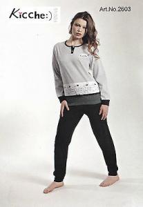 KICCHE YOUNG 2603 Pigiama donna lungo con elastici Maglia lunga, pantalone lungo
