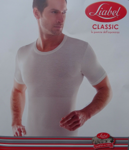 LIABEL TIRAMISU'. Maglietta 72% Lana Uomo Girocollo manica corta fascia elastica