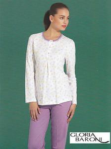 GLORIA BARONI - 74655. Pigiama donna lungo Serafino. Jersey stampato 100% Cotone