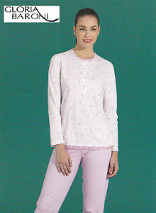 GLORIA BARONI - 74161. Pigiama donna lungo Serafino. Jersey stampato 100% Cotone