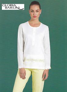 GLORIA BARONI - 71169. Pigiama donna lungo Serafino. Jersey stampato 100% Cotone