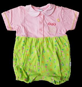ELLEPI 7142. Pagliaccetto Tutina Neonata Bambina Manica Corta in Cotone 100%