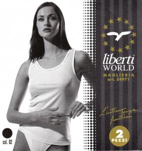 LIBERTI - 54971. 2x Top, Canotta, T-shirt. Donna - Spalla Larga. Filo di scozia.