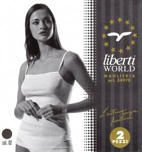 LIBERTI 54970. 2x Top, Canotta, T-shirt. Donna - Spalla stretta. Filo di scozia.