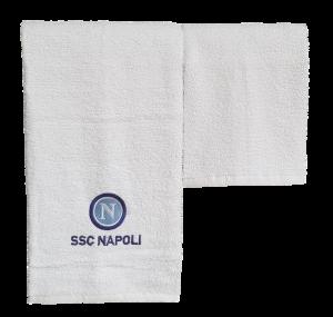 SSC NAPOLI Ufficiale, Asciugamani 1 Viso + 1 ospite in spugna di Cotone 100%.