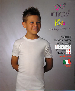 INFINITY. Maglietta intima bimbo. Mezza manica - T shirt. Cotone anallergico.