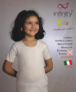 INFINITY. Maglietta intima bimba. Mezza manica - T shirt. Cotone anallergico.