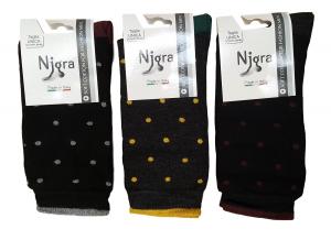 NIGRA - 784 POIS. 3 Paia Calzini, Calza corta Uomo in Caldo Cotone.  Made Italy.