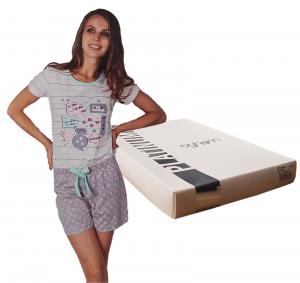 OGHAM 8505 Pigiama donna corto estivo 100% Cotone Mezza Manica + Pantalone Corto