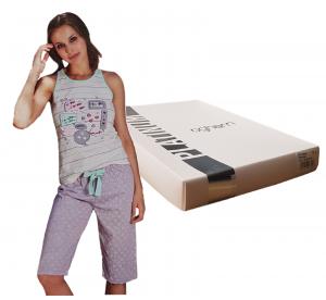 OGHAM 8504 Pigiama donna corto estivo 100% Cotone con Pantalone a Pinocchietto