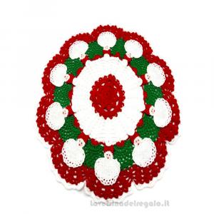 Centrino natalizio rotondo Babbo Natale ad uncinetto ø 34 cm Handmade - Italy