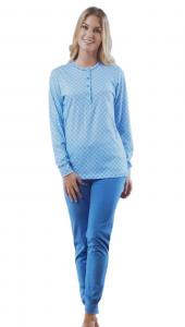 VENERE  1064/P Pigiama donna lungo, bordato primaverile serafino Puro Cotone 100%