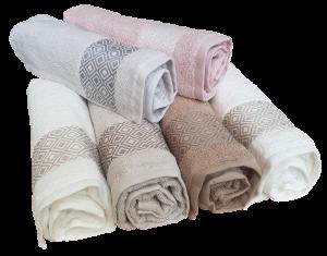 GF FERRARI Set bagno Dis. 5 Asciugamani 6 Viso + 6 ospiti in spugna Cotone 100%