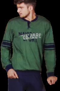 NAVIGARE B2140996 Pigiama Uomo Bordato Cotone Jersey Pantalone + Manica lunga