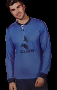 NAVIGARE B2140980 Pigiama Uomo Bordato Cotone Jersey Pantalone + Manica lunga