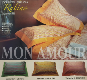 MON AMOUR - RUBINO. Completo letto, Lenzuola. 100% Cotone. Federe a 3 volant.