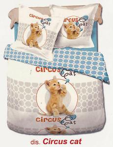 MY COLORS - CIRCUS CAT. Completo lenzuola - copriletto. Singolo e Matrimoniale.