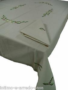 Tovaglie Natalizie da 6 e 8 posti con tovaglioli. Cotton Joy - 100% Cotone.