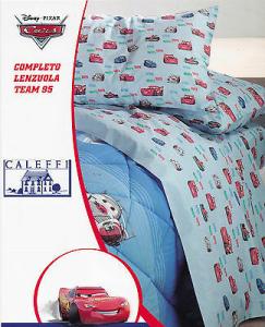 Completo Letto, Lenzuola cotone, 1 Piazza e mezza. CALEFFI - DISNEY CARS TEAM 95