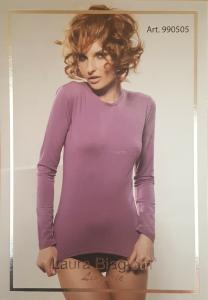LAURA BIAGIOTTI 990505. T-Shirt donna Manica lunga Cotone Modal elasticizzato.