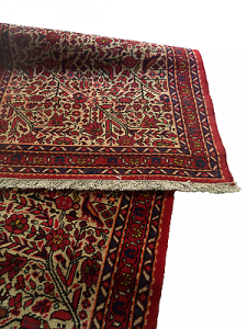 Guida/Corsia - Tappeto. Tessuto lana annodato a mano. 77x287. Panna - Bordeaux.