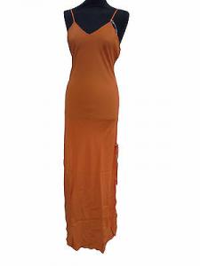 LA LINGERIE DEI SOGNI. Camicia da notte spallina stretta. Misto seta. Arancio.