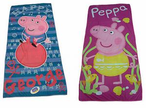 Telo - asciugamano mare Bambina, spugna. PEPPA PIG. 70x140. 2 Fantasie. Cotone.