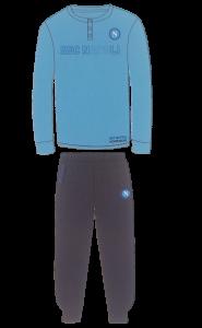 SSC NAPOLI CALCIO N90525. Pigiama lungo serafino bordato bimbo Cotone Jersey 100%