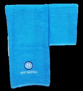 SSC NAPOLI Ufficiale. Asciugamani 1 Viso + 1 ospite Azzurro spugna di Cotone 100%