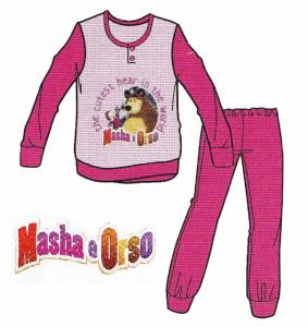 MASHA E ORSO 06897. Pigiama bimbo, bambino Invernale Maniche Lunghe Caldo cotone.