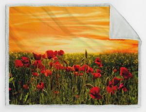 CALEFFI. Plaid 160x130, Coperta Velboa 460 gr/m2 con stampa digitale. PAPAVERI.
