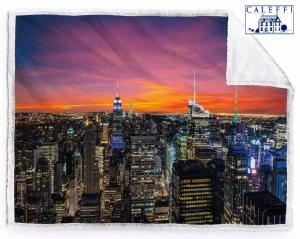 CALEFFI. Plaid 160x130, Coperta Velboa 460 gr/m2 con stampa digitale. NY SUNSET.