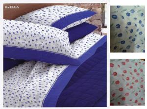 LINEA SCIRA - MARISA. Completo Lenzuola 3 pezzi. 1 Piazza e mezza. Blu e Rosso.