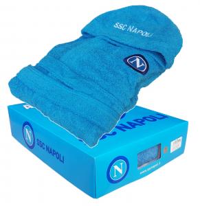 SSC NAPOLI Calcio, Accappatoio Unisex con cappuccio e tasche. Spugna cotone 100%