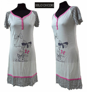 DOLCI CHICCHE - 24401. Camicia da notte, Canotte 3 bottoni, mezza manica. Bianco