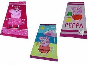 PEPPA PIG. Telo - asciugamano mare Bambina, Spugna. 75 x 150, 3 Fantasie. Cotone