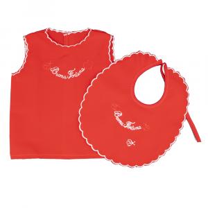 Camicino della fortuna e bavaglino seta rosso