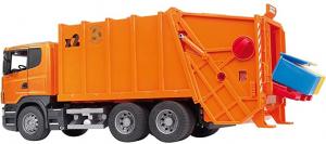 BRUDER 03560 - Camion Scania R Serie S, Trasporto Rifiuti, Arancione