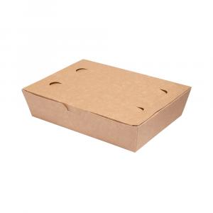 Box asporto con coperchio in cartoncino bio - 20x14x5cm avana
