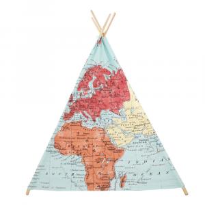 Tenda degli indiani Teepee Sunny Mappa del mondo Colorata