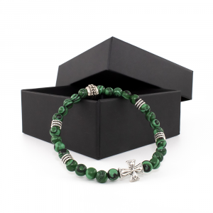 Bracciale elastico in Malachite e Metallo Brunito - CRUX - One
